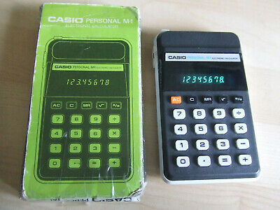 Retro Working CASIO PERSONAL M1 8 Digit Green LCD Electronic Calculator