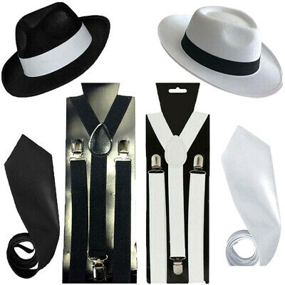 d2b95fe5e GANGSTER TRILBY HAT Braces Tie 1920's Gatsby Bugsy Malone Al Capone ...
