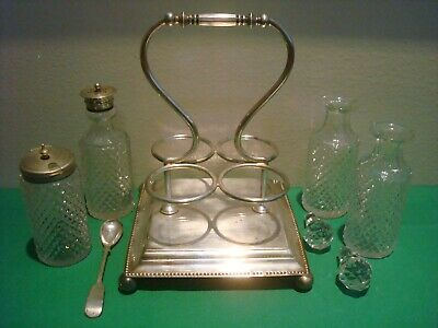 Antique Cruet Set w/ Stand Henry Hobson H H&S Sheffield England Silverplate EPNS