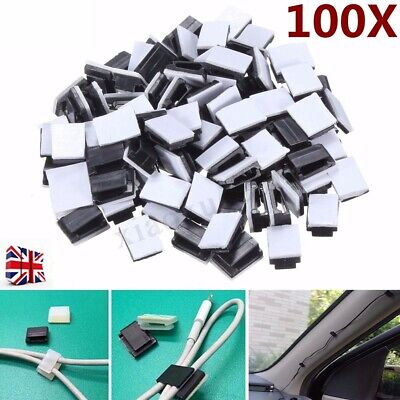 100x Black Plastic Self-adhesive Wire Tie Rectangle Cable Mount Clips Clamp
