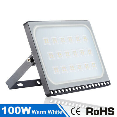 100W LED Security Floodlights Warm White Outdoor Garden Landscape Spotlight IP65
