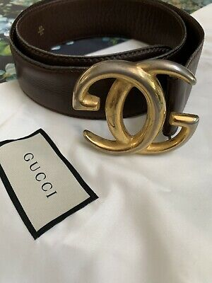 8df491b48 Authentic Vintage Gucci Brown Leather Belt Large Buckle Large Size Made In  Italy