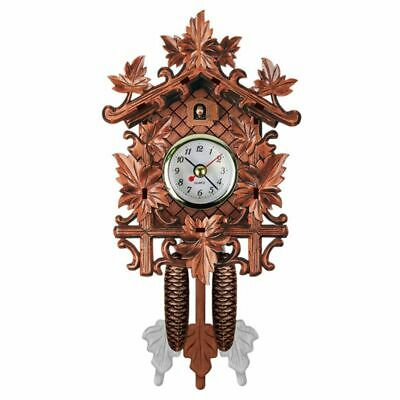 2X(Vintage Home Decorative Bird Wall Clock Hanging Wood Cuckoo Clock Living U7T6