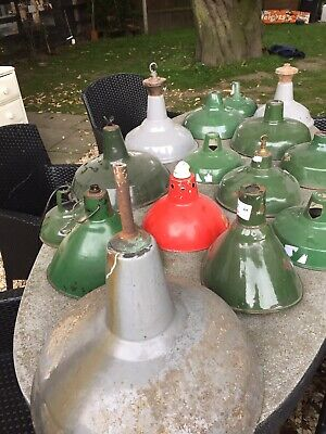 Job Lot Vintage Original Enamel Factory Lights Benjamin Industrial Shades