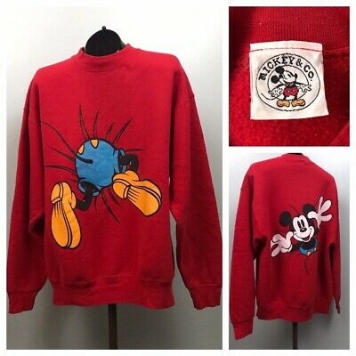 1990s Mickey Mouse Sweatshirt / Double Sided Graphics Cotton Sweatshirt / XL