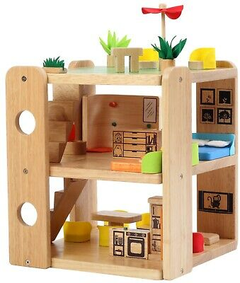 BRAND NEW child's high quality WOODEN DOLL HOUSE with FURNITURE  pretend play