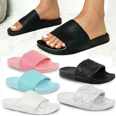 Womens Ladies Flat Black Faux Leather Sliders Slides Summer Sandals Plain Mules