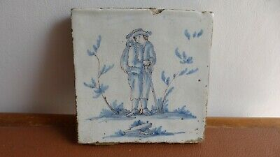 Antique Large Dutch Delft tile 18th C. .Ancien grand carreau Delft.............A