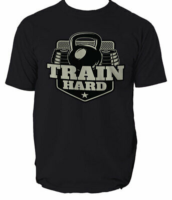 T Shirt Hard Train Gym Go Home Fitness Body Building Pt Bootcamp Top S-3XL