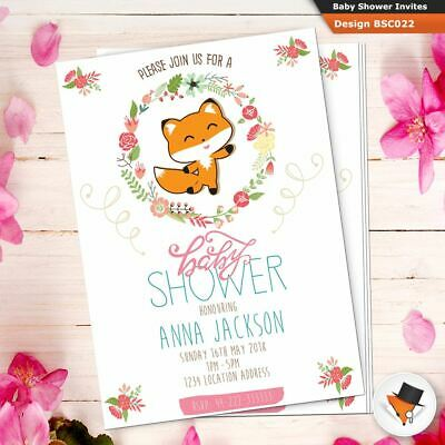 Personalised Baby Shower Invitations Fox Design Invites Free White Envelopes