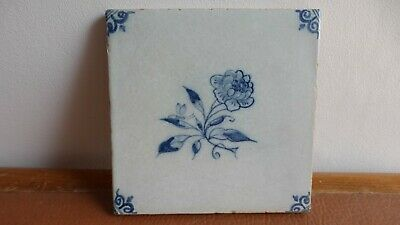 Antique Dutch Delft tile Ancien carreau . XVIIIth C. Flower. Ancien carreau...10
