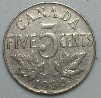 1930 CANADA  5 Cent Nickel Coin KING GEORGE V PN#7