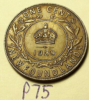1929  Newfoundland Canada Large One Cent Penny GEORGE VI  P75