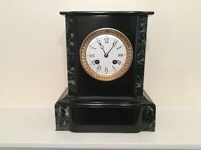 French Black Slate and Marble Mantel Clock c1870s