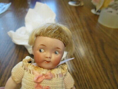 """Precious 7"""" Antique Doll All Bisque Googly w Side Glancing Eyes Shoulder Chip"""