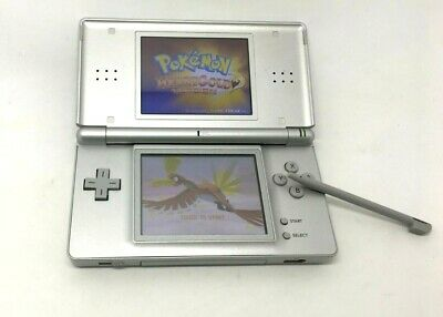 Silver Nintendo DS Lite with Soft Mod / Flash Cart, case, loaded games, charger