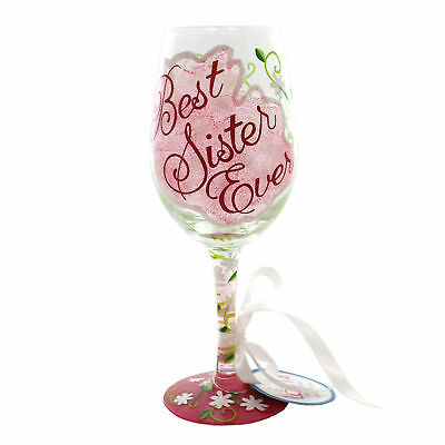Lolita Love My Wine  BEST SISTER EVER Multi-Color Hand Painted Wine Glass