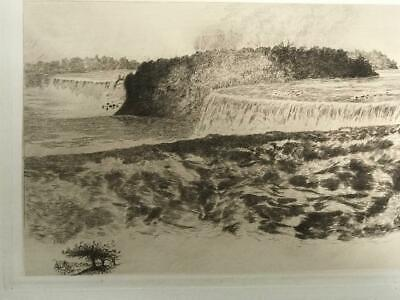 AMOS SANGSTER ANTIQUE ETCHING 'Limited Remarque Edition BEST 1 of Niagara Falls