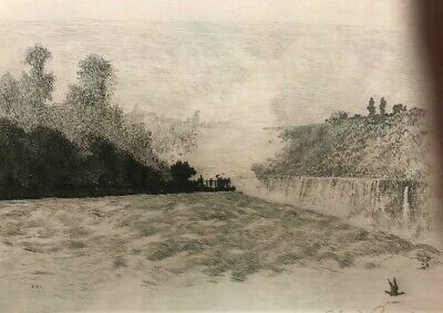 SIGNED SANGSTER ETCHING luna island from prospect park Niagara Falls lower price