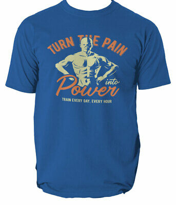 T Shirt Hard Train Gym Go Home Fitness Body Building Turn the pain Top S-3XL