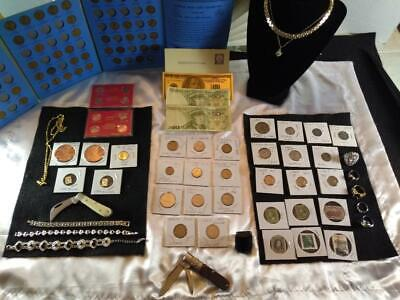 Junk Drawer LOT .999 silver, knives, 24K gold plate, foreign money and MORE!