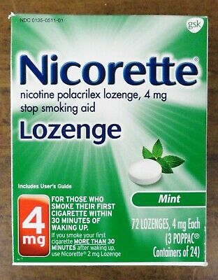 Nicorette Nicotine Lozenge 4 Mg Mint 72 Pieces Sealed Retail Box Free Shipping