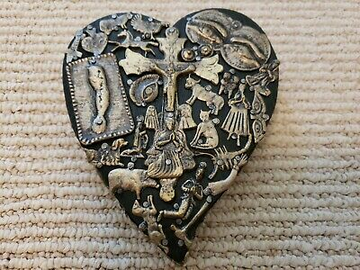 Milagros Heart Sacred Heart with Flames Milagro Charms Mexican Folk Art