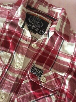 Superdry ladies brushed cotton shirt size small red and cream
