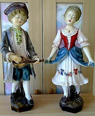 """Pair of Antique Bisque style Large Regency Figurines 57 cm tall ( 22"""" )"""
