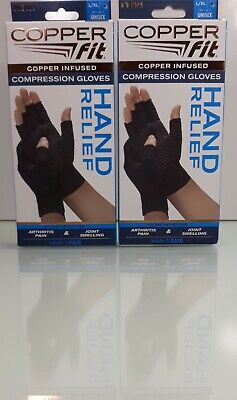 2 Pack, Copper Fit Hand Relief Muscle & Joint Support Compression Gloves L/Xl R