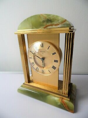 Vintage Classical Column Solid Brass & Onyx Case Swiss Made Swiza 8 Alarm Clock