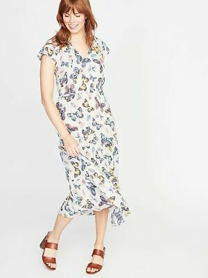 OLD NAVY Waist-Defined Ruffle-Sleeve Maxi Dress,White SIZE Med Tall NWT SOLD OUT