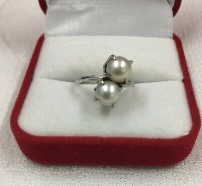 Vtg.Sterling Silver Pre 1960 White culture Perl Ring Size 5.5 Excellent