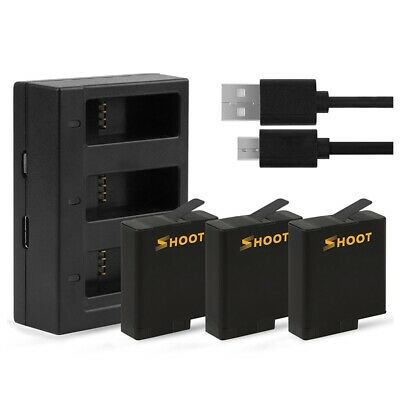 3X(SHOOT Battery USB Charger for GoPro HERO 6/ HERO 5 Black Accessories(Com A9I9