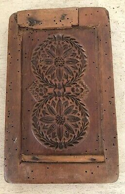 ANTIQUE Early Primitive Double Sided WOOD Stamp Cookie Baking Mold HAND CARVED