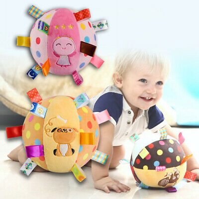 JN_ Baby Animal Plush Ring Bell Rattle Hand Grasp Ball Bed Hanging Toys Gift A
