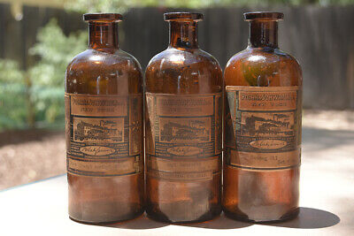 3 X Brown Antique Bottles W/ Labels / Uncleaned / Just Found / Super Beautiful