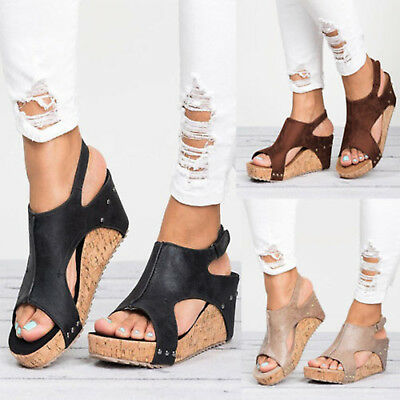 Womens Ladies Flatform Cork Espadrille Open Toes Sandals Wedge Ankle Shoes Size