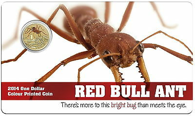 2014 $1 Pad Printed Coin Bright Bugs Series - Red Bull Ant