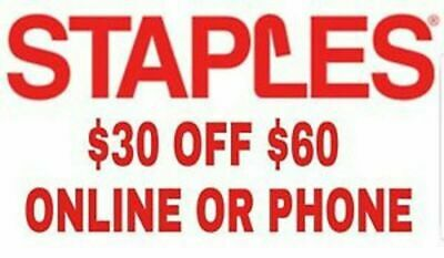 Staples $30 off $60 online or phone order Coupon - Exp. 07/21/19