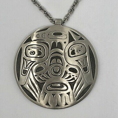 NW Native Thunderbird Totem Necklace 30in Bell Trading Post VTG Nickel Silver