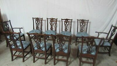 Set Ten Ethan Allen Dining Room Chippendale Chairs Mahogany
