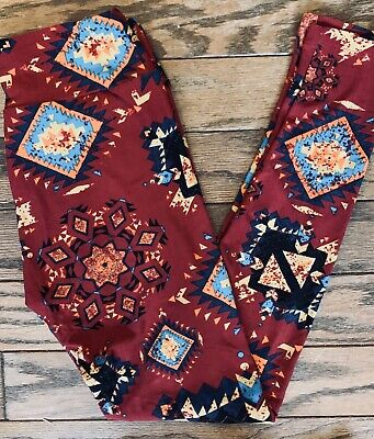 Lularoe Leggings~OS~Rusty Red Background~Black•Gold•Blue Aztec Print NEW