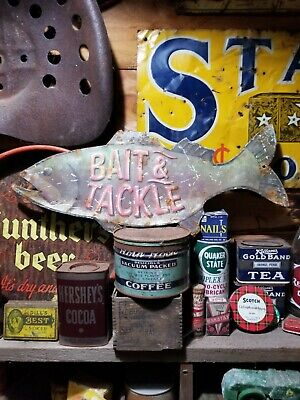 vintage old fishing bait tackle metal sign gas station general store hunting