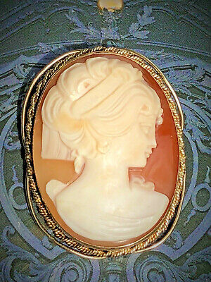 14K Yellow Gold Handcarved Shell Cameo Beauty Profile Vintage Brooch Pin Pendant