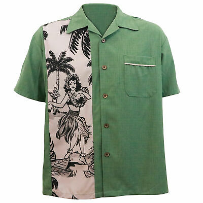 STEADY CLOTHING The Mickey Green Tiki Panel Button Up Bowling Shirt S-3XL NEW