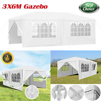 Heavy Duty Stronger PE Gazebo Weatherproof Tent with Sides 3x6m  Marquee Canopy