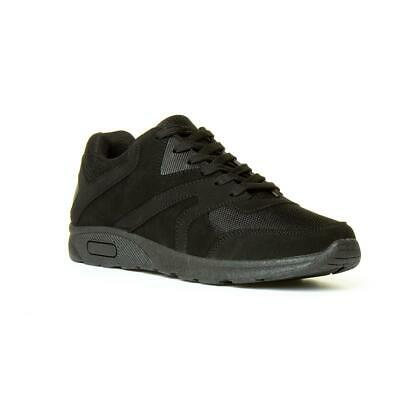 Mens Trainer Lace Up Mesh Trainer in Black by Podium