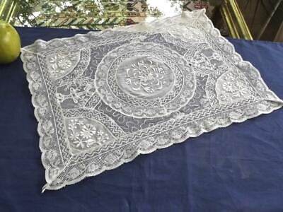 Antique French Normandy Lace 12x17 Centerpiece Doily Bobbin Needle Embroidery