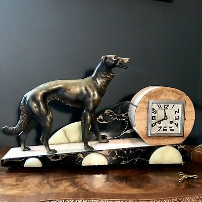 ORIGINAL HUGE Art Deco Japy Freres French Clock Bronze Greyhound Marble/onyx